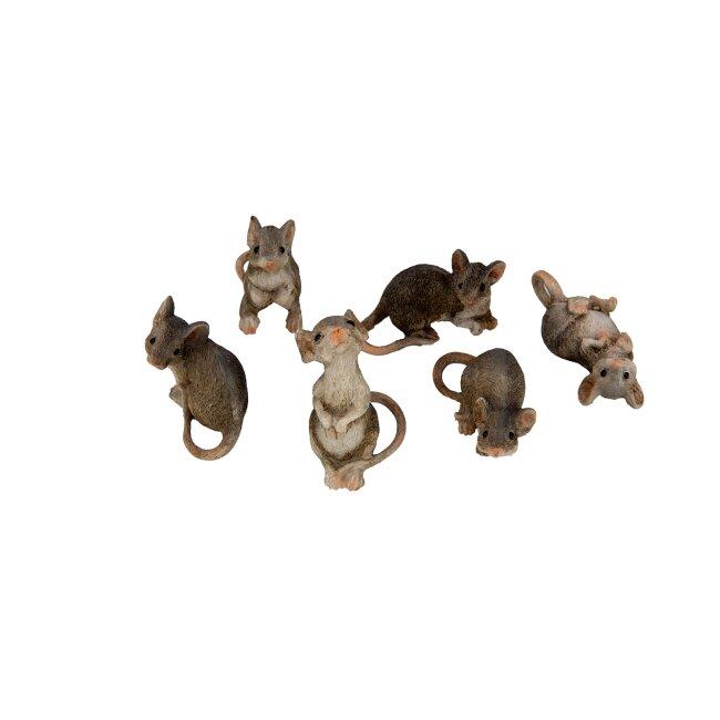 6er Set Mäuse, ca. 5 x 3 x 5 cm
