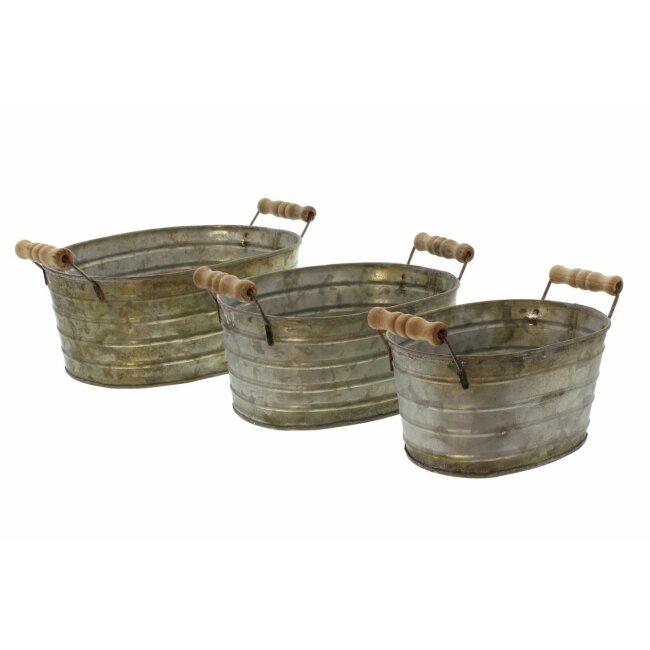 Metallwanne mit Holzgriffen, 3er Set