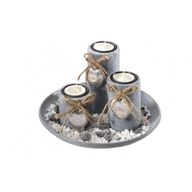 Dekoschale aus Polyresin mit drei Kerzen grau