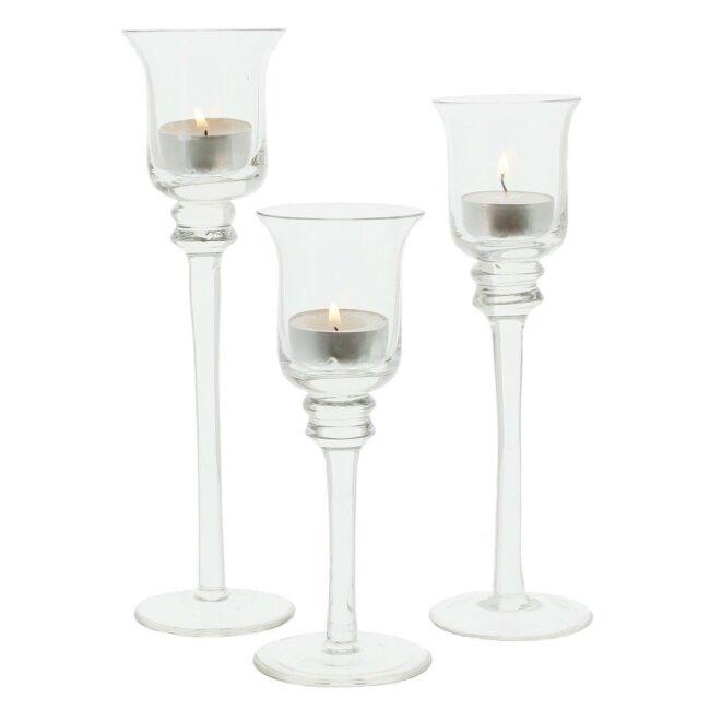Glas-Kerzenhalter, 3er Set verschiedene Größen Ø 3,5cm