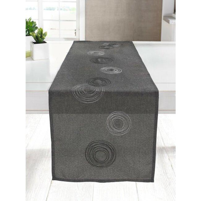 Tischläufer Kringel mit Kreismotiven bestickt grau meliert 40 X 150 cm