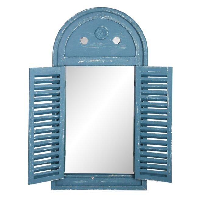 Spiegel mit Fensterläden, verwittertes blau, ca. 39,2 x 75 cm